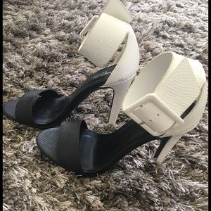 Black and white high heels sandals